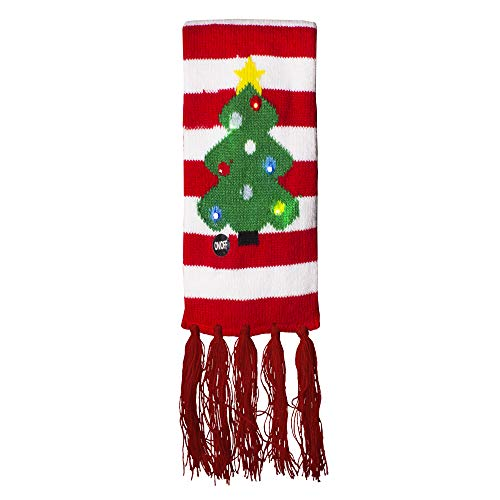 LED Light Up Holiday Scarf for Ugly Christmas Sweater Party (Candy Cane Stripe)
