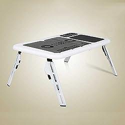 Pinjeer Foldable Portable Computer Desk Portable Liftable Laptop Holder With Fan Heatsink Multipurpose Laptop Holder Desk Bed Floor Adjustable Outdoor Height (individuality Black White)