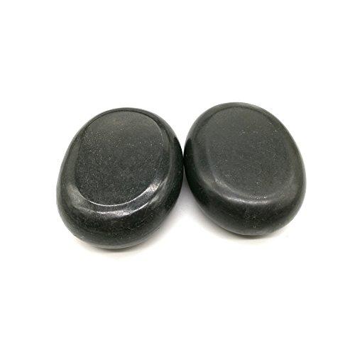 Romonacr Set of 2 Professional Massage Hot Stone Set Natural Lava Heated Stones Basalt Warmer Rock for Spa, Massage Therapy 2.76 x3.54 in(7x9x2cm) (Rocks Basalt)
