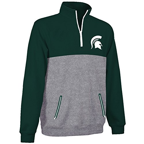 gan State Spartans 1/4 Zip Poly Sweatshirt Captain - XL - Forest Green and Gray (Elite 1/4 Zip)