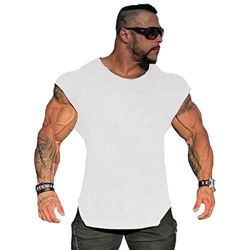 orkout Gym Tanks Muscle Shirts Drop Shoulder Tee T-Shirts for Running Jogging (Large, White) ()