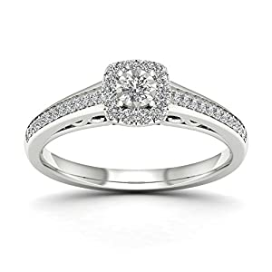 De Couer 10K White Gold 3/8ct TDW Diamond Halo Engagement Ring (H-I, I2)