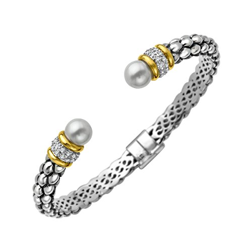 Diamond Silver Cuff (Freshwater Cultured Pearl Beaded Cuff Bracelet with Diamonds in Sterling Silver and 14K Gold)