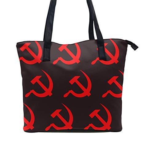 Red Sickle Leaf - Women Handbag Soft Leather Red Hammer And Sickle Tote Purse - Multi Pockets Shoulder Tote Bags Roomy Lightweight Tote Satchel for Travel Work School