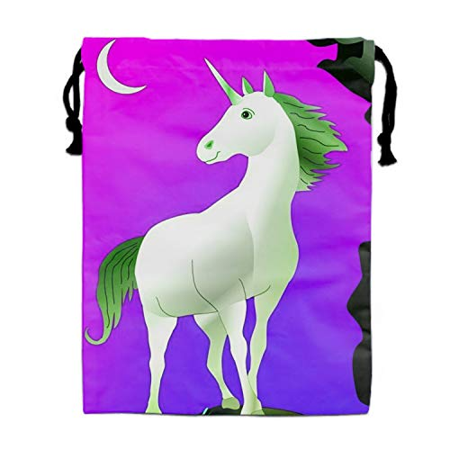 Drawstring Bags Bulk for Kids, Kiddie Treats Such as Toy Gift Sack, Carry Cinch Bag, Durable Double-sided Daypack- White Unicorn