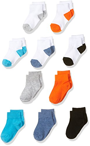 Fruit of the Loom Baby Boys' Ankle 10 Pack Sock, Assorted, Shoe Size: 4-8.5 (18-36 Months)