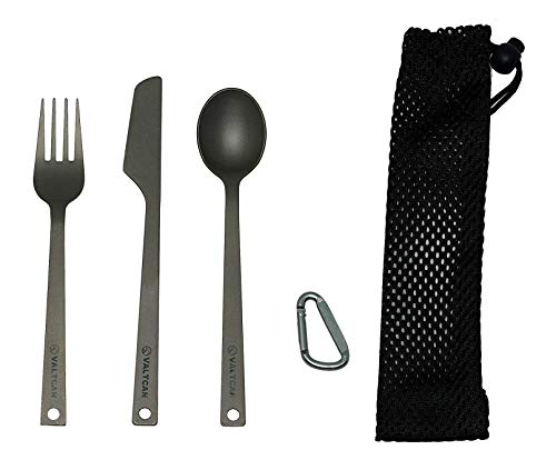 Valtcan 3 Piece Titanium Camping Flatware Fork Spoon Knife Cutlery Camping Accessories and Mess Kit Utensils with Cleaning Pouch Solid Frame Dinnerware Set