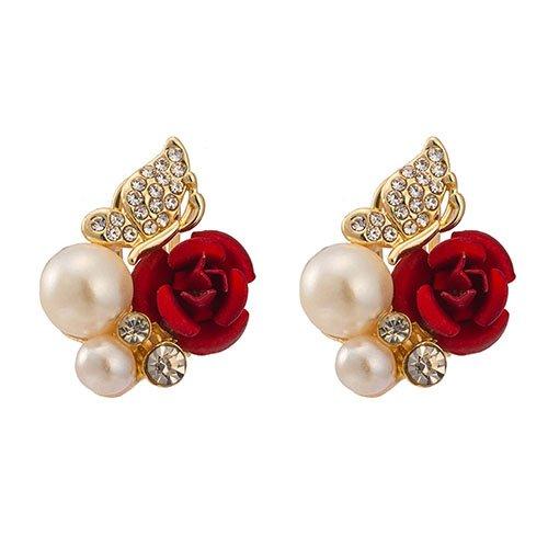 Softmusic Women Jewelry Gift Red Rose Flower Faux Pearl Decor Ear Stud Earrings