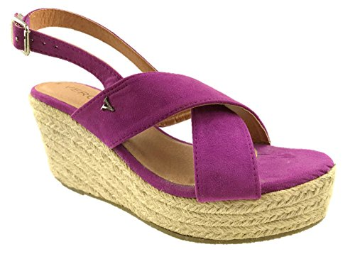 Verona Sandals Leather Ladies Purple Faux Strap Size Cross UK Insole 2 Mid 8 Lightweight Summer Suede Wedge rBrxdP