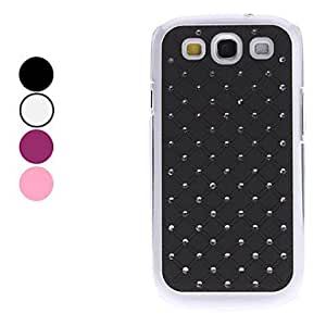 JJE Grid Pattern Hard Case with Shining Rhinestone for Samsung Galaxy S3 I9300 (Assorted Colors) , Black