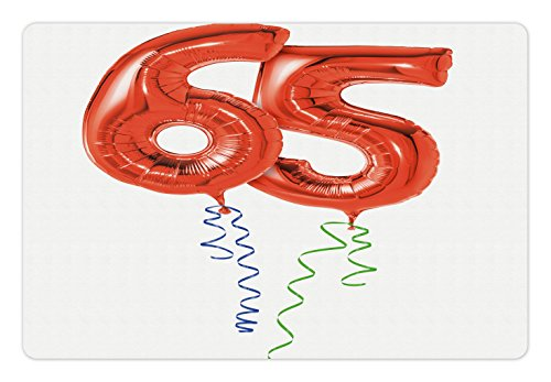 65th Birthday Pet Mats for Food and Water by Ambesonne, Birthday Balloons for Age Sixty Five Joyous Cheerful Party Object Image, Rectangle Non-Slip Rubber Mat for Dogs and Cats, Red Green Blue