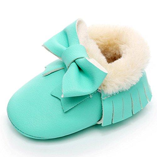 Huhu833 Neugeborene Lovely Kleinkind Schuhe Bowknot Weiche Sohle Schneeschuhe Weiche Krippe Baumwolle Schuhe Kleinkind Stiefel (0~18Month) Mint Green