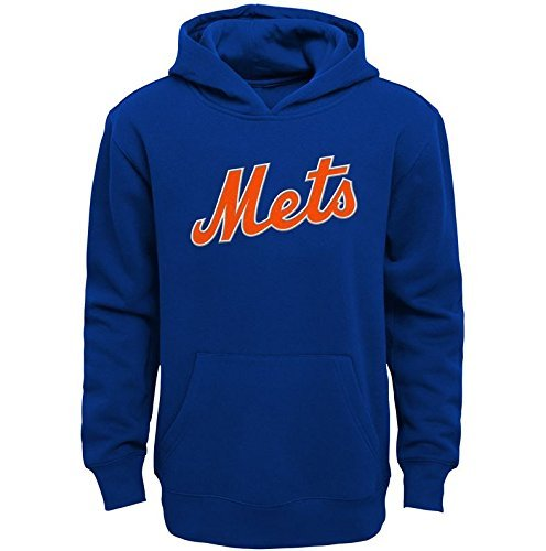 Mets Sweatshirts - OuterStuff New York Mets YOUTH BOYS Wordmark Logo Pullover Hooded Sweatshirt - Blue (Youth Medium(10-12))