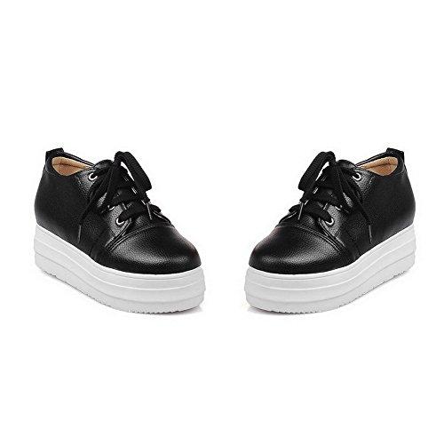 Balamasa Meisjes Bandage Platform Ronde Neus Geïmiteerd Lederen Pumps-schoenen Zwart