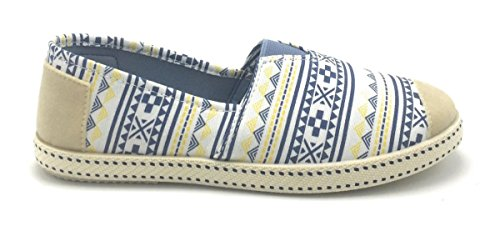 De Mujer Ballet Zapatillas en Flats Loafers arranque Plimsoll de F2283 Zapatos Blue Color Mocasín Resbalar la Multi rwC5rx