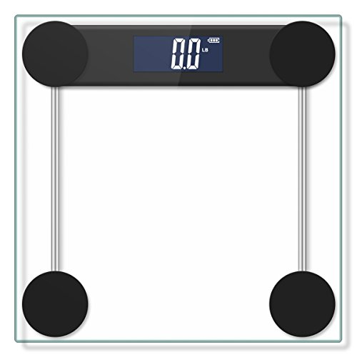 Yoobure 400lb / 180kg Digital Body Weight Bathroom Scale with Step-On Technology and Tempered Right Angle Glass Balance Platform