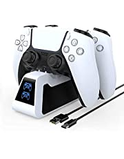 TwiHill Carregador controlador PS5 com cabo USB controlador PS5 com estação de carregamento rápido USB de base dupla, carregador rápido duplo para PS5 com indicador LED, Acessórios para PlayStation 5 (Branco)