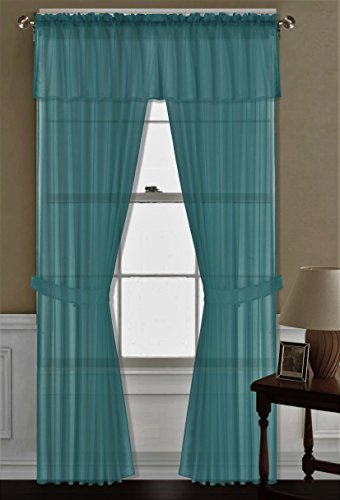 GorgeousHomeLinen Teal 5PC Complete Voile Sheer Versatile Multi Use Set 2 Panels + 1 Straight Valance Topper and 2 Tiebacks Window Curtain Treatment 100% Matching 84