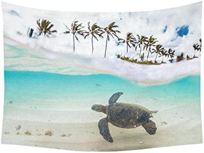 INTERESTPRINT Ocean Theme Wall Art Home Decor, Beautiful Tropical Beach with Green Sea Turtle and Palm Tree Tapestry Wall Hanging Art Sets 80 X 60 Inches