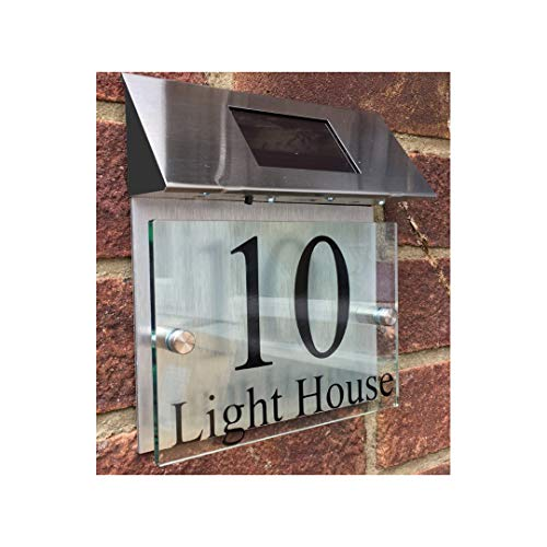 - ThedisplayDeal Custom House Addres Door Plaque, Solar Powered, Glass Look Acrylic & Brushed Aluminum Double Panel, Text Area 7