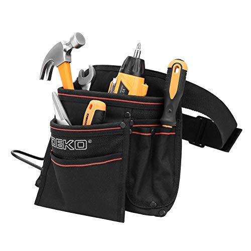 DEKO Tool Pouch with Belt 12 Pockets Electrician Tool Carpenter Nail Waist Bag 600D Oxford cloth Black by DEKO (Image #9)