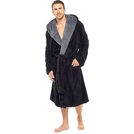 e4c36c1988 Foxbury Men s Shaggy Fleece Contrast Lapel Hooded Bath Robe