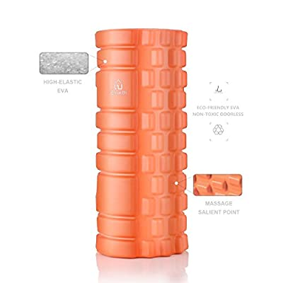 Emarth GRID Foam Roller, 2 for 1 - Hollow Core & Solid Inner Core Massage Roller, Super Effective for Physical Therapy/Myofascial Release/Cramp Relief/Tight Muscles, Orange