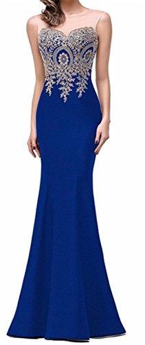 SHUNLIU Vestidos de Fiesta Largos Vestido Encaje de Mujer Elegantes de Noche Detrás de Perspectiva Hueco Azul