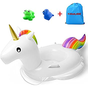 Kemuse Inflatable Unicorn Baby Pool Float Swimming Ring For Age 6-48 Months With Bath Toys & Storage Bag