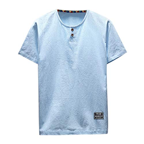 (Fashion Men's Cotton Linen Short Sleeve, MmNote Casual Round Neck Button Design Moisture Wicking Performance T-Shirt Light Blue)