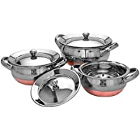 Rident Kitchen Stainless Steel Handi Serving Pot with Steel Lid Copper Bottom Silver top -Set of 3
