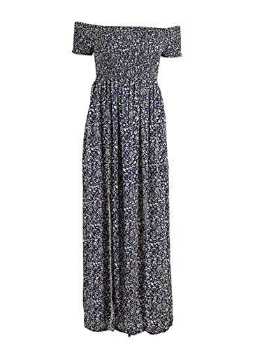 Shoulder Print Beach Floral Women's Off Vintage High 2 Waist BerryGo Blue Mini Dress pHqU4tt