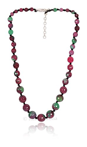 - Ruby Zoisite Color Quartz Faceted Round Beads Necklace, Daily/Party/Office/Casual wear Jewelry for Girls/Women, Fashion Accessory, Gift Ideas, Wholesale Price, Exclusively by Ratnagarbha.
