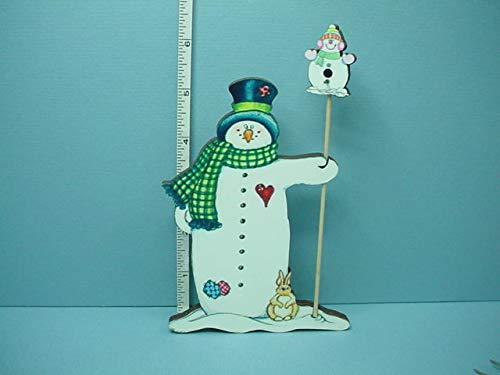 (DolH Miniature Snowman Yard Art wi Bird House Laser Creations 1/12th Scale)