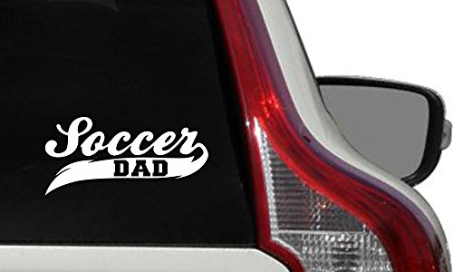 (Dad Soccer Banner Car Vinyl Sticker Decal Bumper Sticker for Auto Cars Trucks Windshield Custom Walls Windows Ipad Macbook Laptop Home and More (WHITE))
