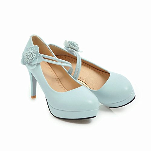 Mee Shoes Damen High Heels Blume Plateau Klettband Pumps Blau - liv ... 49ba99265b
