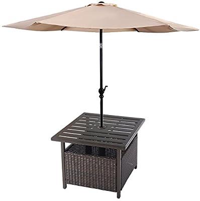 Premium Side Table + 9ft Tilt Adjustable Umbrella Patio Outdoor Furniture Set for Outdoor Deck Garden Beach Patio or Poolside. Include 1 Side Table & 1 Umbrella