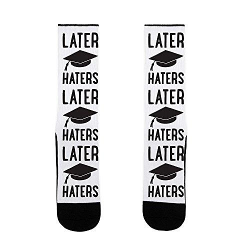 LookHUMAN Later Haters Graduation Socks, White, US Sizes 7-13 -