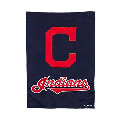 - Ashley Gifts Customizable Embroidered Garden Size MLB Flag, Cleveland Indians