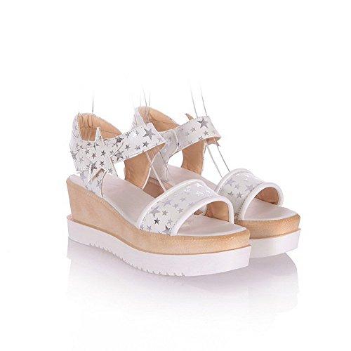 AllhqFashion Women's Hook And Loop Kitten Heels Pu Assorted Color Open Toe Sandals White ww7RCuj8