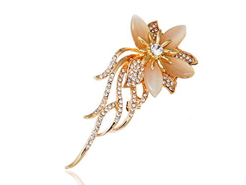 Alilang Golden Tone Autumn Flower Peach Petal Trailing Vines Clear Rhinestone Bouquet Pin Brooch