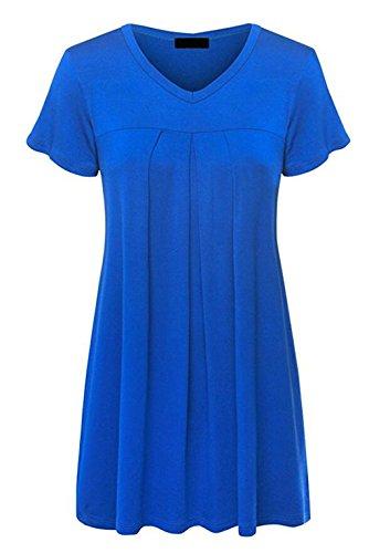 LemonGirl Women V-Neck Pullover Cotton T-Shirt Blouse Tops Blue