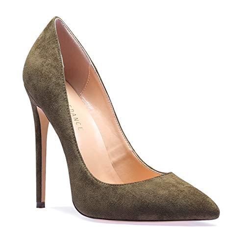 SUNETEDANCE Women's Slip-on Pumps High Heels Pointy Toe Sexy Elegant Stiletto Heels 12CM Heel Shoes Suede Olive Pump 10 M US