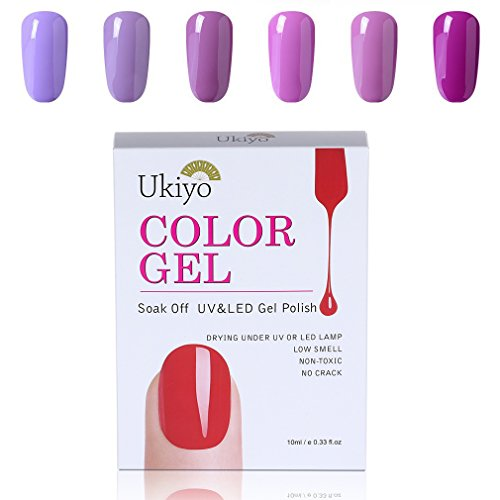 Ukiyo 6PCS Gel Nail Polish Set Purple Gel Nail Starter Kit U