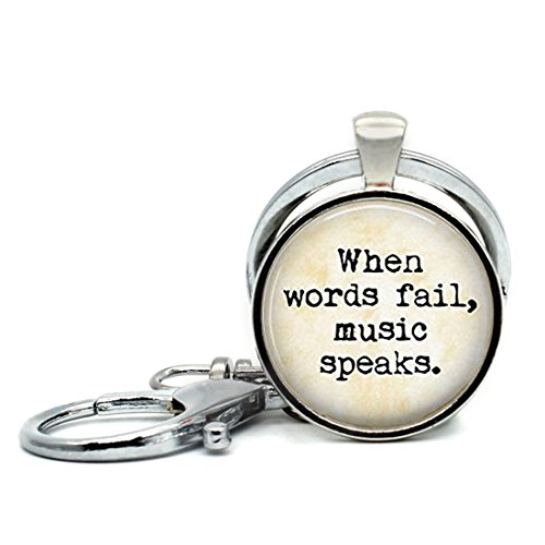 Keychain Round Pendant Music Lover Quote Vintage When words fail music speaks Glass Cabochon Key Rings Stainless Steel Metal Handmade Charm Pendants