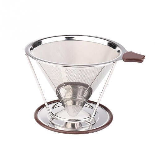 Home Product Stainless Steel Pour Over Coffee Dripper Premium Reusable Double Coffee Filter Cone And Brewer With Pour Over Cup Stand