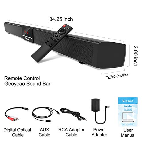 Geoyeao 34 Inch Soundbar with Dual Built-in Subwoofers and 4 Full Range Speakers 60W, Home Audio Speakers with Surround Sound Systems, Home Audio Sound Bars for TV with Optical/Aux/RCA Cables Remote