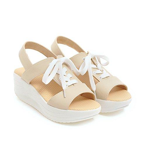 Carolbar Womens Fashion Casual Komfort Peep Toe Snörning Plattform Sandaler Beige