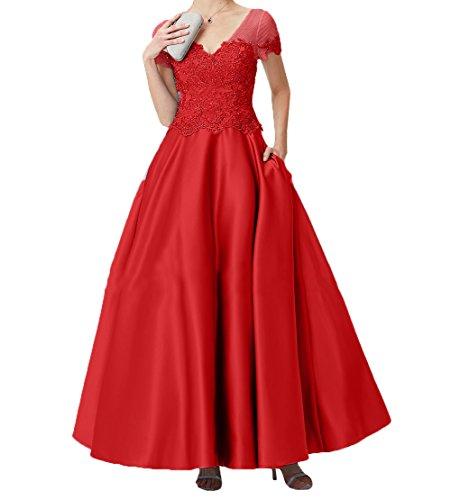 Damen Kurzarm Rock A Spitze Lang Promkleider Brautmutterkleider Linie Abendkleider Charmant Rot Abschlussballkleider wqAERwdz