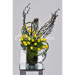 Silk Blooms Ltd Artificial Yellow Fresh Touch Tulip and Real Preserved Wood Vase Arrangment w/Pussywillow and Moss 52
